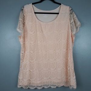 Lane Bryant NWT light pink lace front top 18/20
